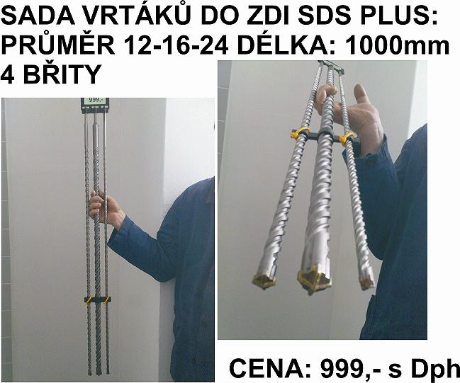Sada vrtáků do zdi SDS Plus - 1000mm